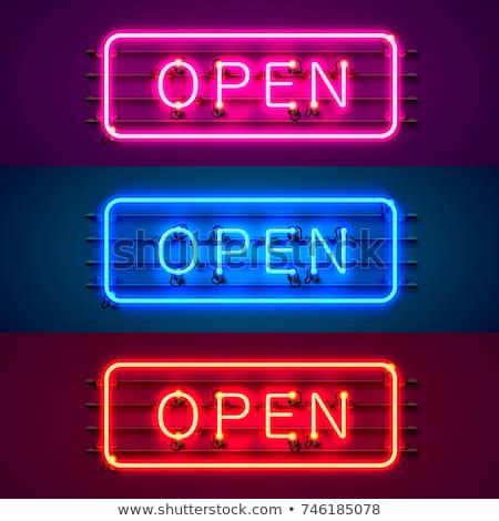 Neón rojo abierto negocios contacto bar Foto stock © SArts