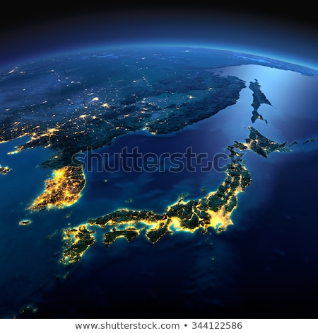 Detailed Earth at night. Part of Asia, Japan and Korea, Japanese Stock photo © Antartis