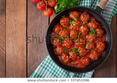 Molho de tomate almôndegas caseiro comida madeira Foto stock © trexec