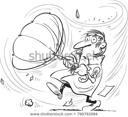Strong wind, rain and man with umbrella illustration Stock photo © tiKkraf69