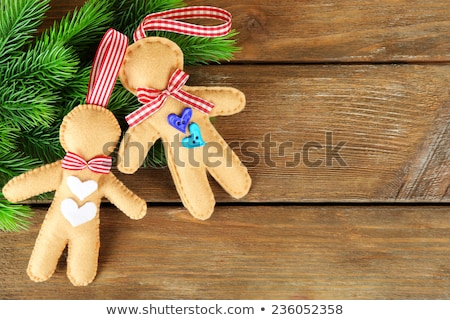 christmas background with felt gingerbread men stock photo © furmanphoto