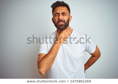 ongezond · indian · man · hoesten · gezondheid · probleem - stockfoto © dolgachov