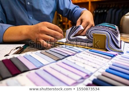 Krawiec klienta materiału shirt wzór Zdjęcia stock © Kzenon