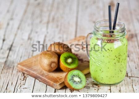 Zöld smoothie kiwi alma citrus vászon magok Stock fotó © marylooo