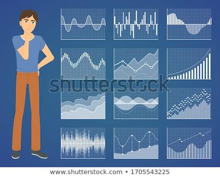Grafikon jelentés férfi nyereség ikon vektor Stock fotó © robuart
