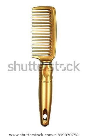 Altın saç tarak ahşap masa fırçalamak araç Stok fotoğraf © magraphics