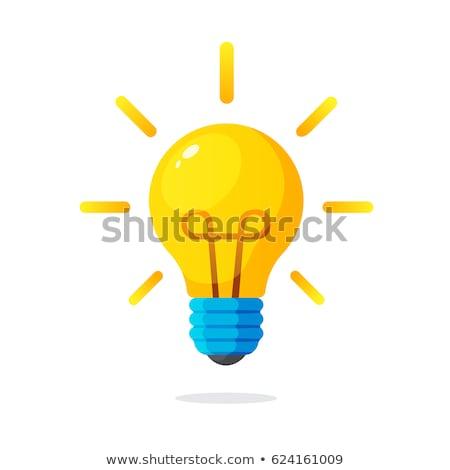 Cartoon ampoule idée blanc noir illustration heureux Photo stock © bennerdesign