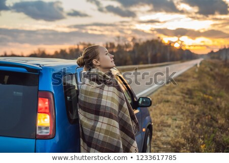 Mulher carro lado estrada madrugada Foto stock © galitskaya