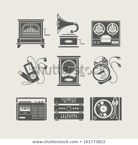 Toca disco ícone vetor ilustração assinar Foto stock © pikepicture