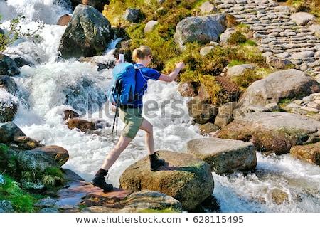 Zdjęcia stock: Górskich · strumienia · kamienie · rząd · krzyż · uruchomiony