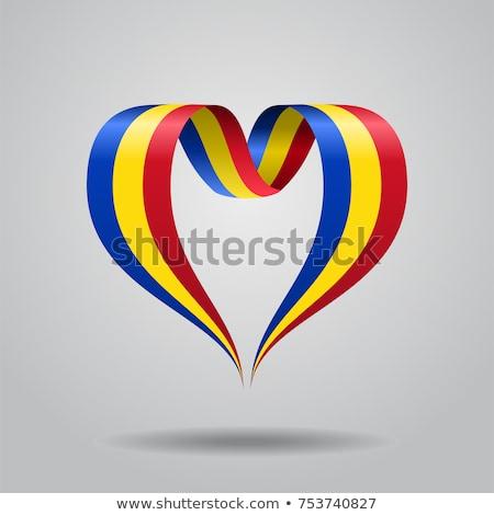 Bandeira Romênia forma coração amor Foto stock © butenkow