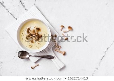 гриб кремом суп чаши разделочная доска продовольствие Сток-фото © dolgachov