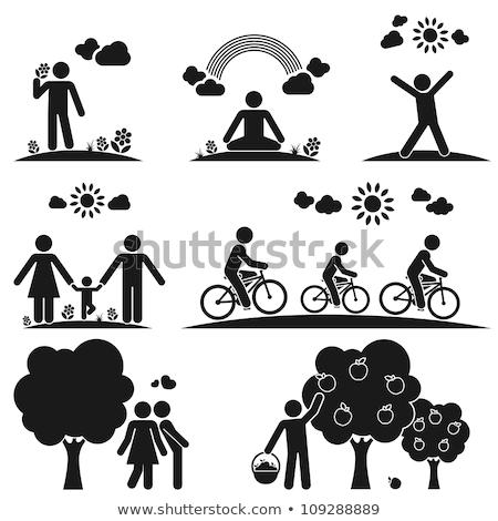 family life icon set in black stock photo © experimental