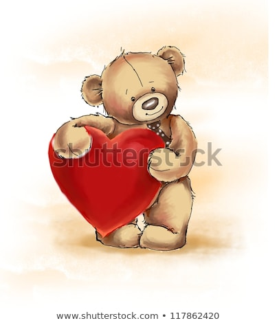 Stock photo: Red heart and bear