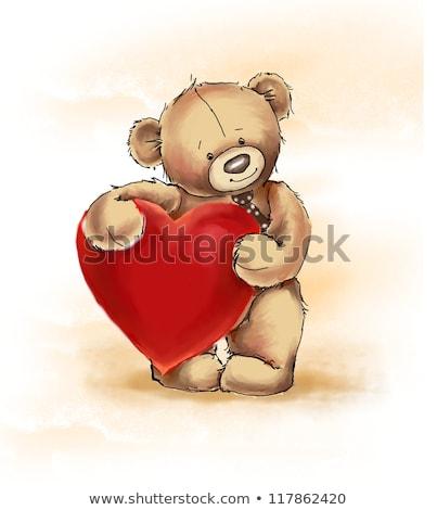 Rood · pluche · hart · witte · geïsoleerd · liefde - stockfoto © stoonn