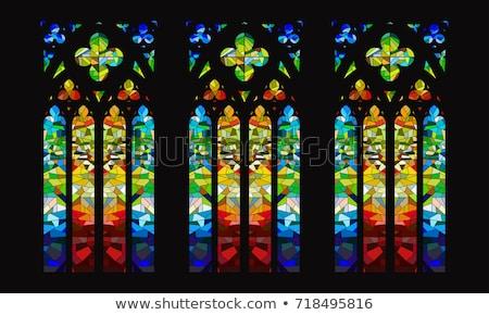Gebrandschilderd glas venster kerk Servië textuur gebouw Stockfoto © IvicaNS