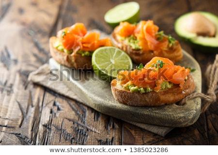 appetizer, avocado and smoked salmon Stock photo © M-studio