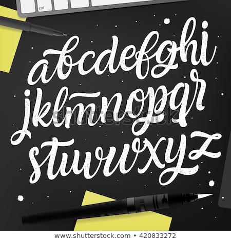 alfabeto · escrito · blanco · tiza · pizarra · educación - foto stock © marinini