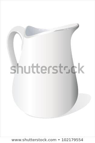 Szép fehér kerámia tejesflakon izolált vágási körvonal Stock fotó © mitay20