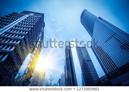 Ulicy metropolia wieżowce Błękitne niebo chmury działalności Zdjęcia stock © RuslanOmega