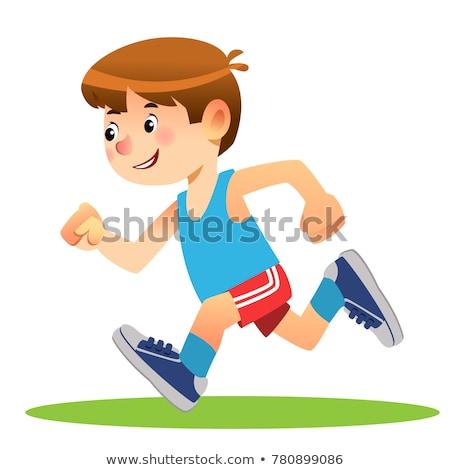 Jongen lopen spelen hemel sport Stockfoto © trgowanlock