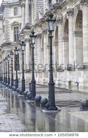 Metallic Retro Lamppost In Paris France Stok fotoğraf © haraldmuc