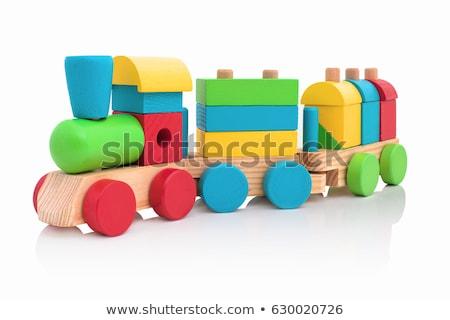 Foto stock: Colorido · brinquedo · de · madeira · trem · estúdio · fotografia · branco