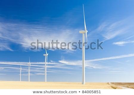 Szélturbinák Spanyolország hold ipar energia erő Stock fotó © phbcz