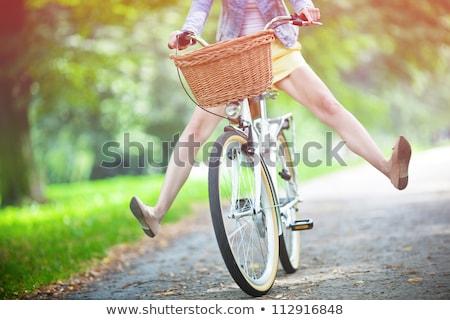 nő · lovaglás · bicikli · napos · biciklizik · út - stock fotó © photography33