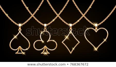 Złoty złota umiłowany kobiet łańcuchy niespodzianką Zdjęcia stock © SVitekD