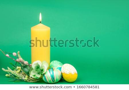 Színes húsvéti tojás gyertyák közelkép három alakú Stock fotó © ElinaManninen