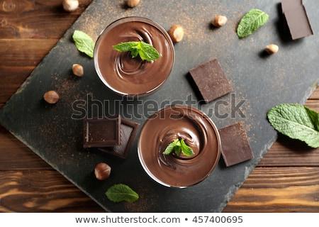 çikolatalı mus seramik beyaz kaşık portakal taş Stok fotoğraf © doupix