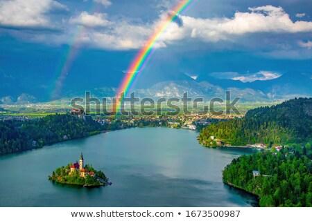 tó · Alpok · Szlovénia · panorámakép · kilátás · templom - stock fotó © fisfra