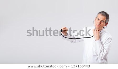Foto stock: Médico · escuta · vazio · cópia · espaço · estetoscópio