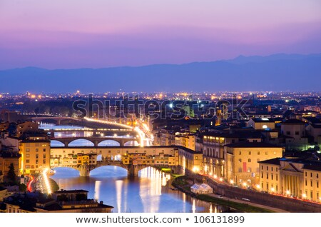 Ponte Vecchio night view over Arno  river in Florence Stock photo © pixachi