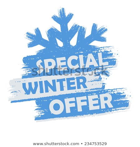 winter discount with snowflake on blue drawn banners stock photo © marinini