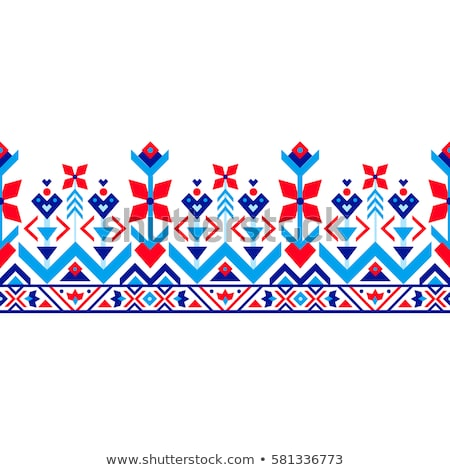Stock photo: red native ornament pattern
