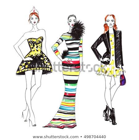 Güzel high fashion kadın siyah cüppe kız Stok fotoğraf © tobkatrina