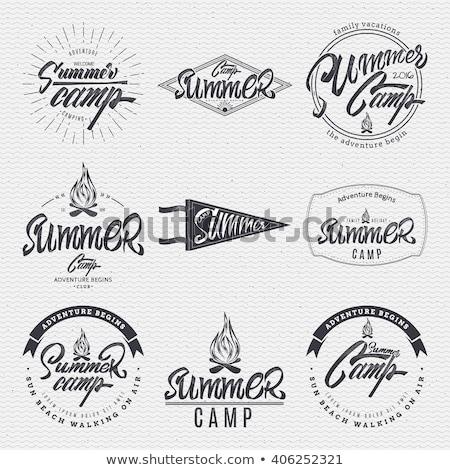 ao · ar · livre · infográficos · camping · caiaque · incomum · projeto - foto stock © mikemcd