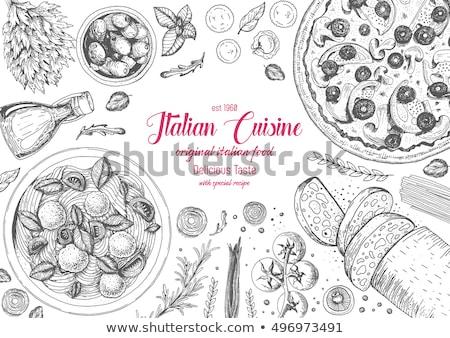 Logotipo cozinha italiana restaurante festa amor vinho Foto stock © shawlinmohd