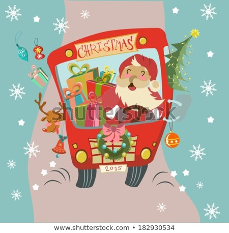 Funny Christmas background with Santa Clause and deer in bus Stock photo © Elmiko