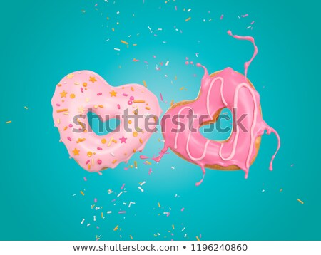 Hart donuts glazuursuiker kers Stockfoto © songbird