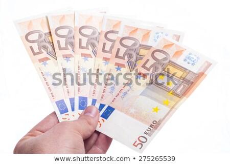 ötven Euro jegyzetek ki közelkép háttér Stock fotó © latent
