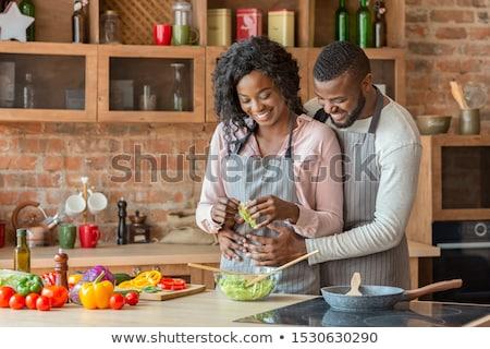 iki · kişi · diğer · mutfak · sevmek · adam - stok fotoğraf © monkey_business