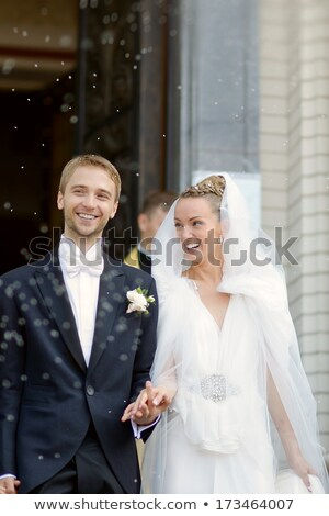 Boldog friss házasok pár rizs eső szabadtér Stock fotó © artush
