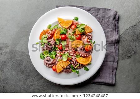 Octopus salade voedsel olijfolie dining vers Stockfoto © M-studio