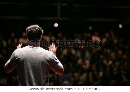 Podium spreker cartoon man tekstballon Stockfoto © blamb