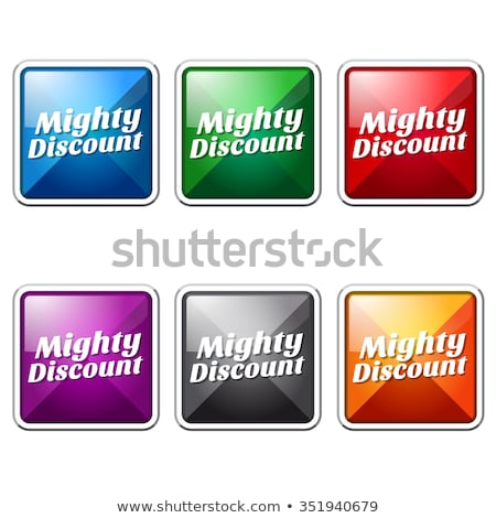 Potężny zniżka zielone wektora ikona przycisk Zdjęcia stock © rizwanali3d