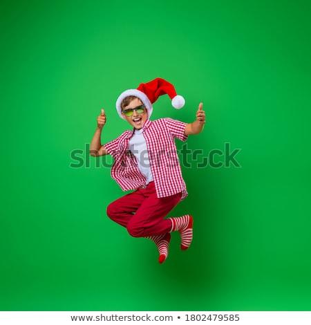 サンタクロース 少年 孤立した 子 帽子 思考 ストックフォト © smitea