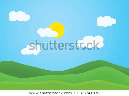 Green grassy hill. Background clouds and sun Stock photo © cherezoff